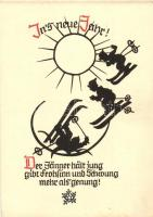Skiing Dwarf  New Year greeting card, silhouette, Pilschke Kunstkarte s: Georg Plischke, Síelő törpék sziluett, Újévi üdvözlőlap, Pilschke Kunstkarte s: Georg Plischke