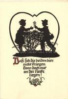 Greeting card, solhouette, Pilschke Kunstkarte s: Georg Plischke, Üdvözlőlap, sziluett, Pilschke Kunstkarte s: Georg Plischke