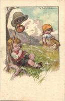 Italian art postcard, children s: V. Castelli, Olasz művészlap, gyerekek s: V. Castelli