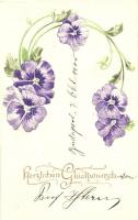 Herzlichen Glückwunsch! / Floral greeting card, Emb., Raphael Tuck & Sons Künstlerische Blümen Serie  Nr. 502B, Virágos dombornyomott üdvözlőlap, Raphael Tuck & Sons Künstlerische Blümen Serie  Nr. 502B