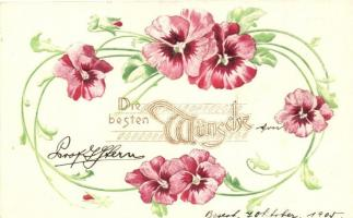 Virágos dombornyomott üdvözlőlap, Raphael Tuck & Sons Künstlerische Blümen Serie  Nr. 503B Die besten Wünsche! / Floral greeting card, Emb., Raphael Tuck & Sons Künstlerische Blümen Serie  Nr. 503B