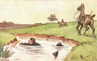 Lovas humoros lap, Raphael Tuck & Sons Oilette 148. s: Jalland