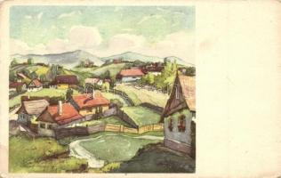 Székely falu, akvarell s: Csíky András