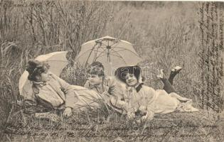 Ladies with sunshades in the grass, Serie 899. No. 3. Hölgyek napernyővel a fűben heverészve, Serie 899. No. 3.