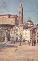 Piran, Pirano; Hauptplatz, Tarini Monument / main square, monument s: Hulub