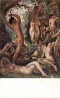 Erotic nude art postcard s: Hermann Lipót, Orfeus / Meztelen erotikus művészlap s: Hermann Lipót