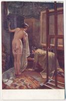 Fázik a modell / Meztelen erotikus művészlap s: Spányik Erotic nude art postcard s: Spányik