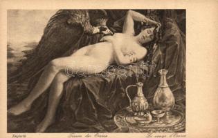 Emese álma / Meztelen erotikus művészlap s: Englerth Traum der Emese  / Erotic nude art postcard s: Englerth