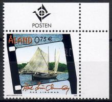 Mein Aland, Segelboot Marke mit Rand, Az én Alandom, vitorlás ívsarki bélyeg, My Aland, sailboat corner stamp