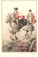 Italian art postcard, couple on horses, Elite CCM 2555-1. s: Ambart Olasz művészlap, lovas pár, Elite CCM 2555-1. s: Ambart
