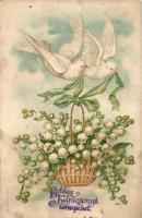 Karácsony, galambok gyöngyvirággal, litho Christmas, doves with flowers, litho