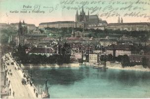 Praha, Prag; Karlov most a Hradcany / bridge, castle