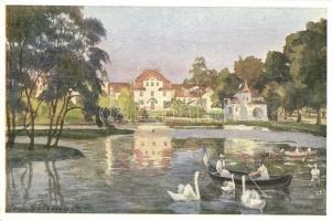 Frantiskovy Lazne, Franzensbad; Stadt-Teich / pond, spa, B.K.W.I. Serie 284/3. s: Hans Götzinger