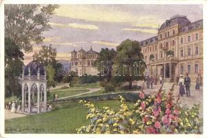 Marianske Lazne, Marienbad; Zentralbad, Ambrosiusbrunnen, Katholische Kirche / spa, fountain, church, B.K.W.I. Serie 202/6. s: Hans Götzinger