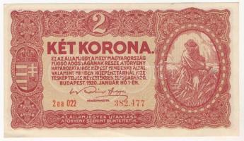 1920. 2K, jobb alsó sarokban szamárfül 1920. 2 Korona, fold at the bottom right corner
