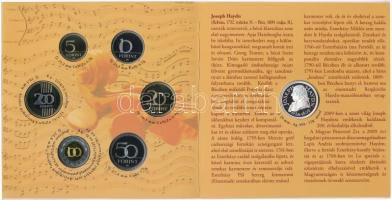 "2009. 5Ft-200Ft (6xklf) + ""Haydn"" Ag emlékérem (12g/0.999/29mm) 2009. 5 Forints - 200 Forints (6xdiff) + ""Haydn"" Ag commemorative medal (12g/0.999/29mm)"