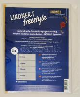 LINDNER-T freestyle foil sheets with 4 strips (53 mm) and self-adhesive strip - pack of 5 LINDNER-T freestyle Folienhülle mit 4 Einsteckstreifen (53 mm) und Selbstklebestreifen, 5er-Packung Lindner-T Freestyle albumpótlás S802408H