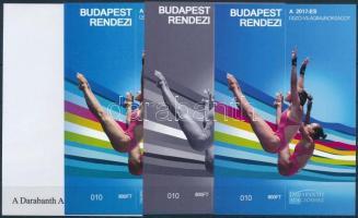 Swimming World Cup sheet set (4 pcs) with same serial number Budapest rendezi a 2017-es Úszó-Világbajnokságot 4 db-os emlékív garnitúra azonos sorszámmal