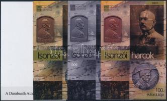 Isonzói harcos 100. évfordulója 4 db-os emlékív garnitúra azonos sorszámmal Isonzo Fighter souvenir sheet set (4 pcs) with same serial number