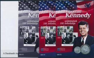 John F. Kennedy sheet set (4 pcs) with same serial number John F. Kennedy születésnek 100. évfordulója 4 db-os emlékív garnitúra azonos sorszámmal