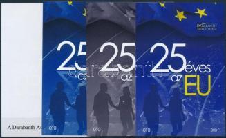 EU sheet set (4 pcs) with same serial number 25 éves az EU 4 db-os emlékív garnitúra azonos sorszámmal