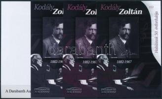 Kodály Zoltán halánának 50. évfordulója 4 db-os emlékív garnitúra azonos sorszámmal Zoltán Kodály sheet set (4 pcs) with same serial number