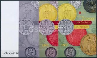 Ferenc József koronázása és a kiegyezés 4 db-os emlékív garnitúra azonos sorszámmal Franz Joseph sheet set (4 pcs) with same serial number