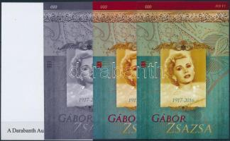 Zsa Zsa Gabor sheet set (4 pcs) with same serial number Gábor Zsazsa 4 db-os emlékív garnitúra azonos sorszámmal