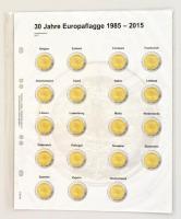 """MU2E13 - előre nyomott érme tartó 2 eurós emlékérmékhez, """"1985-2015, 30 év Európa zászlói"""" Multi collect Vordruckblatt für 2 Euro-Gedenkmünzen: Gemeinschaftsausgabe """"30 Jahre Europaflagge"""""""