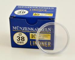 Lindner coin capsules 38mm - Pack of 10, Lindner érmekapszula 38mm - 10 darabos 2250038P, Lindner Münzenkapseln 38mm - 10-er Pack