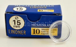 Lindner érmekapszula 15mm - 10 darabos 2250015P, Lindner coin capsules 15mm - Pack of 10, Lindner Münzenkapseln 15mm - 10-er Pack