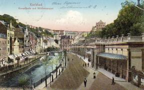Karlovy Vary, Karlsbad; Kreuzstrasse, Mühlbrunnquai / street, quay
