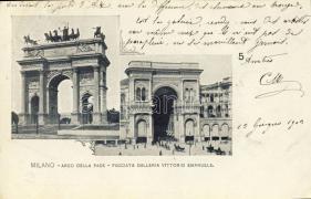 Milano, Milan; Arch of Peace, facade of Vittorio Emanuele