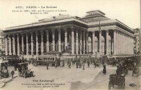 Paris, La Bourse / stock exchange, automobile, bus, tram