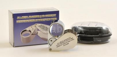 All-metal magnifier with LED, 40x25, Nagyító LED világítással, 40x25, Lupe mith LED, 40x25