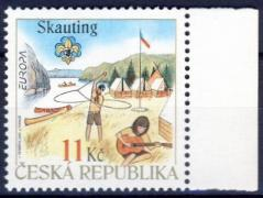 Europa CEPT 100th anniversary of the scout movement margin stamp, Europa CEPT 100 éves a cserkészmozgalom ívszéli bélyeg, Europa CEPT 100 Jahre Pfadfinder Marke mit Rand