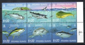Fish margin block of 6, Halak ívszéli hatostömb, Fische Sechserblock mit Rand