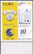 10 years of telephone company ETECSA margin stamp, 10 éves az ETECSA telefontársaság ívszéli bélyeg, 100 Jahre Telefongesellschaft ETECSA Marke mit Rand