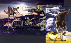 Prähistorische Tiere Kleinbogen + Block, Ősállatok kisív+blokk, Prehistoric animals minisheet + block