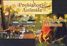 Prehistoric minisheet+block, Ősállatok kisív+blokk, Prähistroische Tiere Kleinbogen+Block