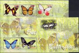 Butterflies minisheet + block, Lepkék kisív + blokk, Schmetterlinge Kleinbogen + Block