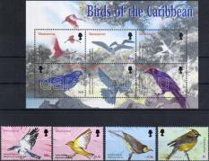 Birds set + minisheet, Madarak sor + kisív, Vögel Satz + Kleinbogen