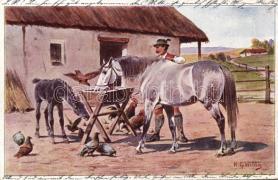 Horse and man s: H. G. Wildg, Lóitatás az udvaron s: H. G. Wildg
