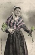 French folklore from Roscoff, artichoke merchant, Francia folklór Roscoffból, articsóka árus