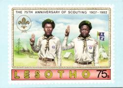 1982 Lesotho, The 75th anniversary of scouting stamp pinx. G. Vásárhelyi, 1982 Lesotho, A cserkész mozgalom 75. évfordulója bélyeg pinx. G. Vásárhelyi