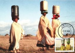 1984 Transkei folklore, water carriers CM, 1984 Trankei folklór, vízhordók CM
