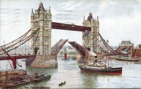 London, Tower bridge, steamship, boats s: A. R. Quinton