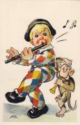 Italian, humorous art postcard, clown, music, s: M.M., Olasz, humoros művészlap, zenélő bohóc, s: M.M.