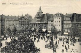 Jena, market square, statue, Jéna, Piactér, szobor