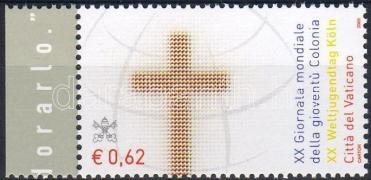 World day of Youth in Cologne margin stamp, Ifjúsági világnap Kölnben ívszéli bélyeg, Weltjugendtag in Köln Marke mit Rand